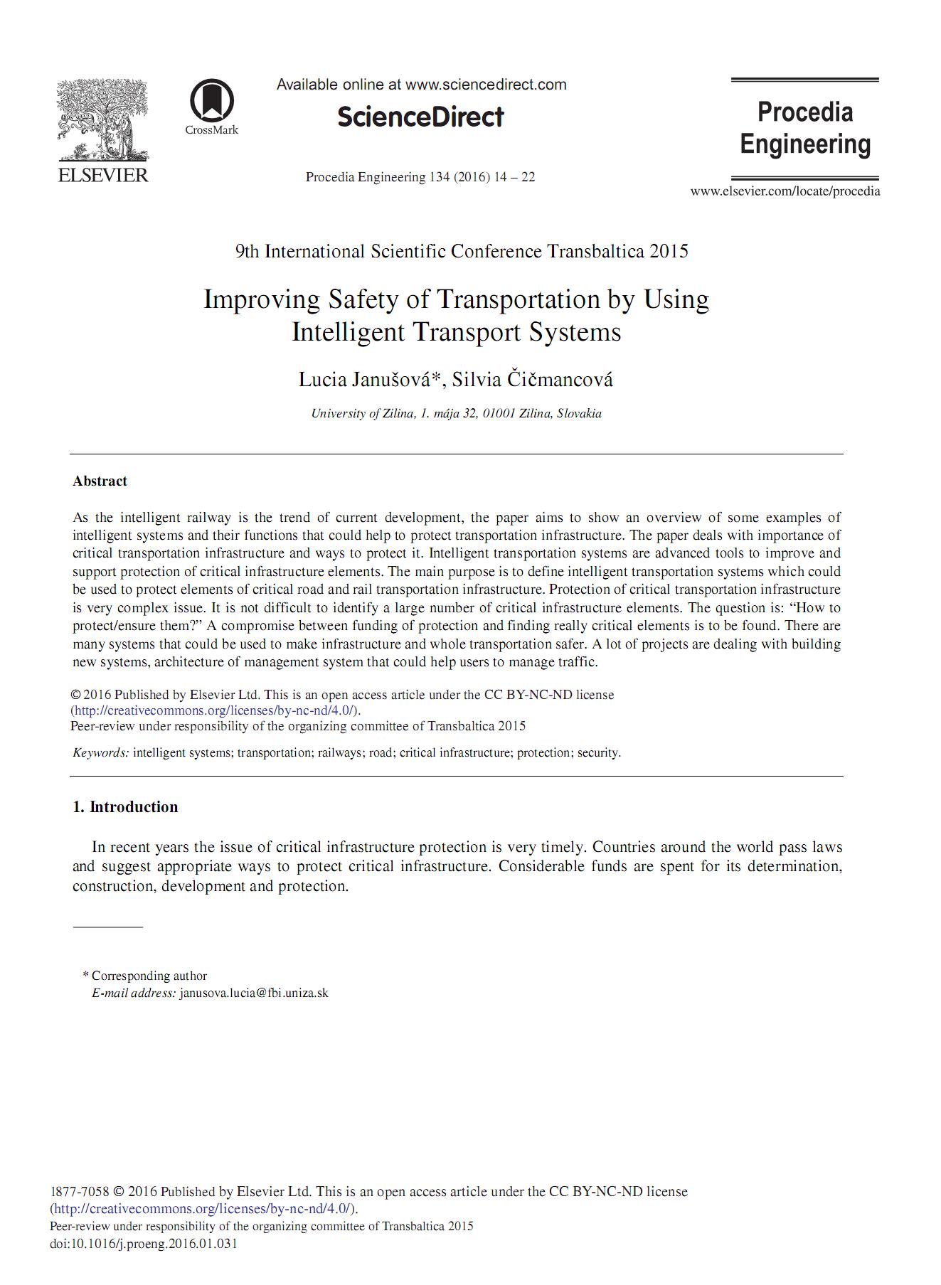 ارتقای ایمنی حمل و نقل با استفاده از سیستم¬های هوشمند حمل و نقل