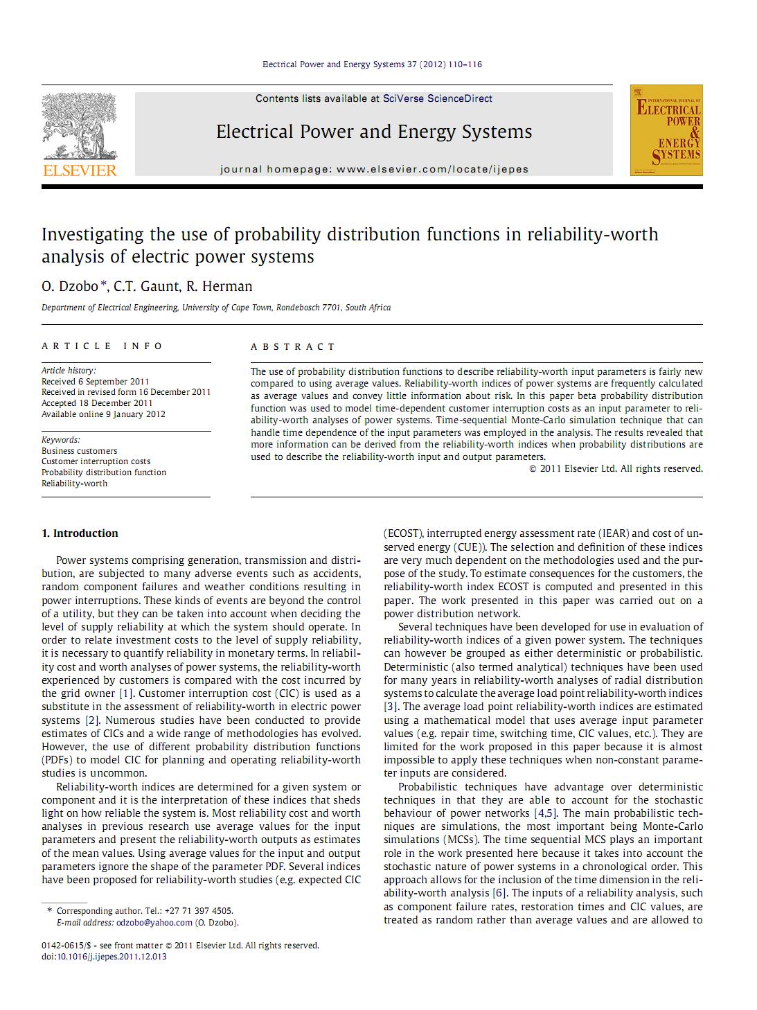 بررسی استفاده از توابع توزیع احتمال در تجزیه و تحلیل ارزش قابلیت اطمینان سیستم های قدرت الکتریکی