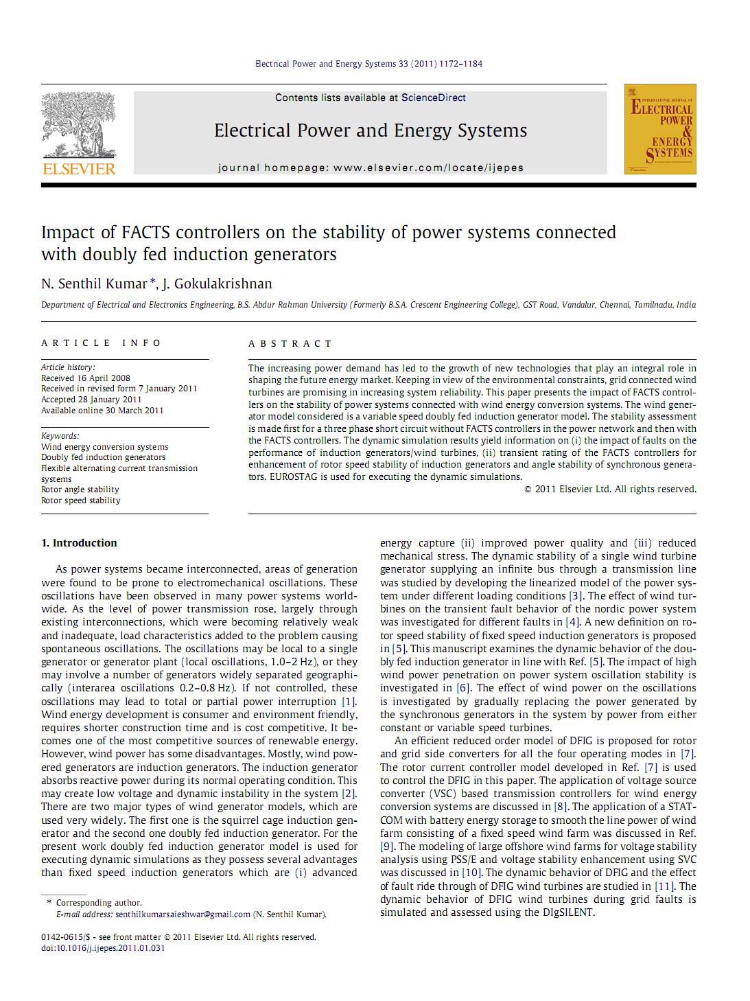 اثر کنترل کننده های FACTS بر روی پایداری سیستمهای توان متصل با مولدهای القایی با تغذیه مضاعف