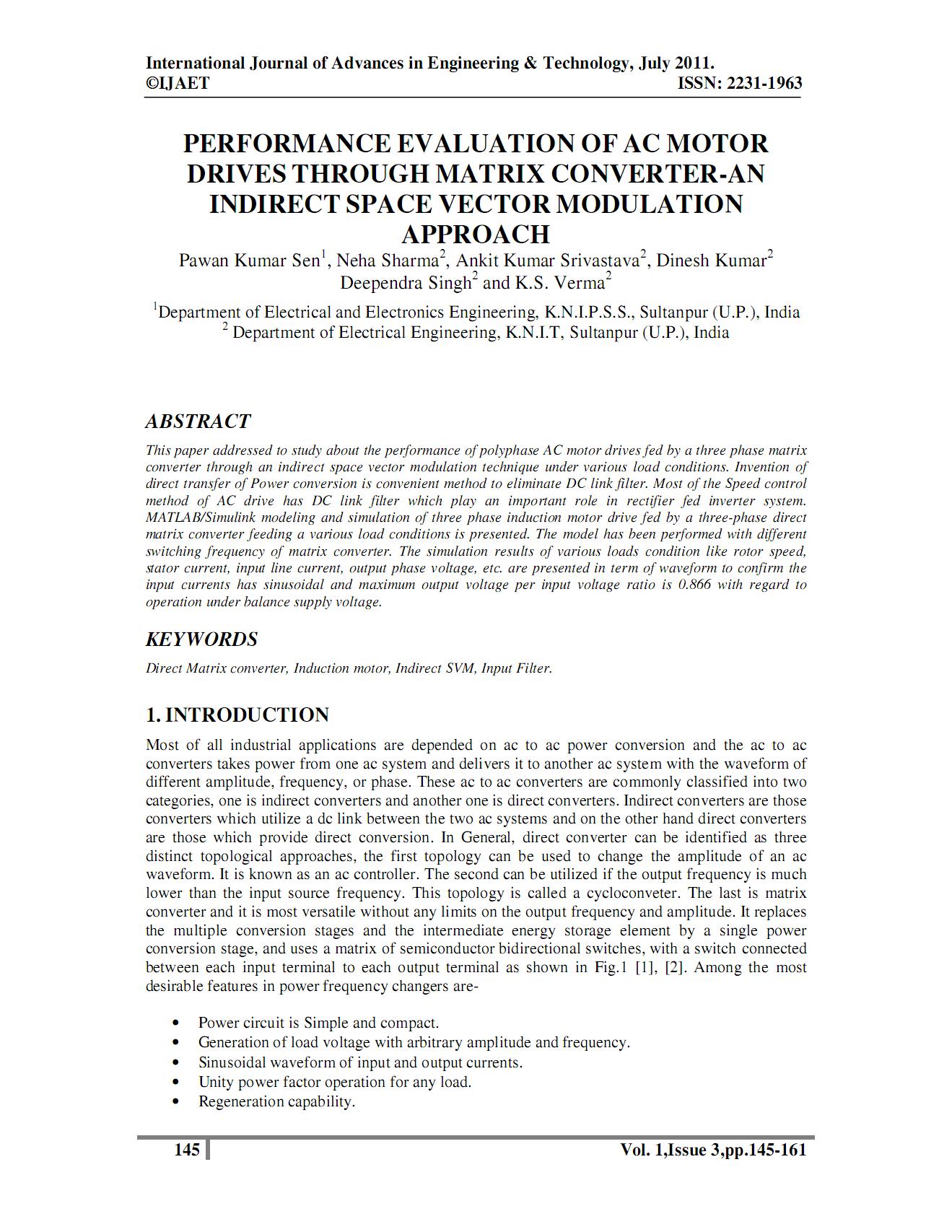 ارزیابی عملکرد درایو موتور AC با مبدل ماتریسی – یک مدولاسیون بردار فضایی غیرمستقیم