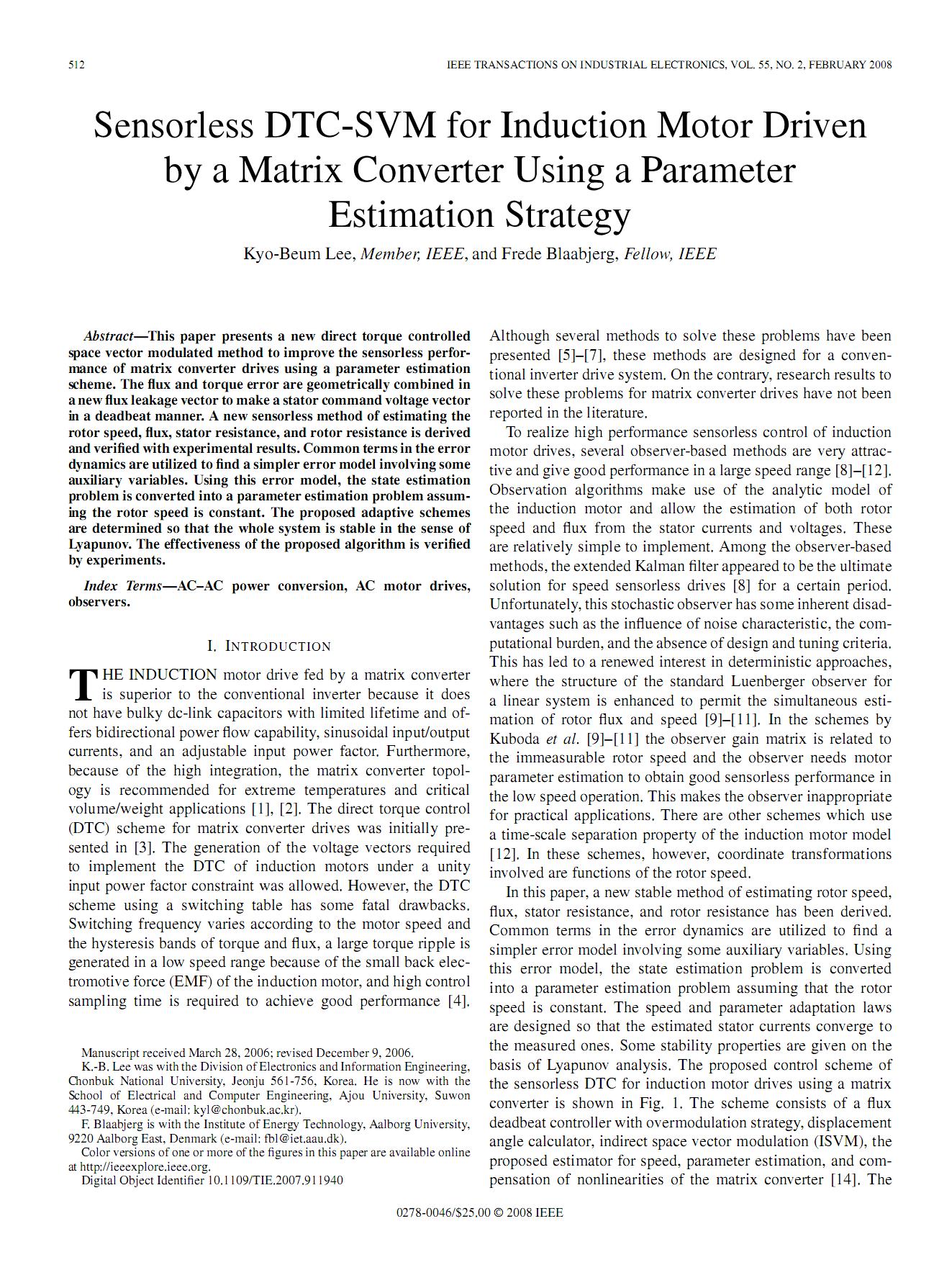 DTC – SVM بدون سنسور براي موتور القايي با يك مبدل ماتريسي با استفاده از استراتژي تخمين پارامتر