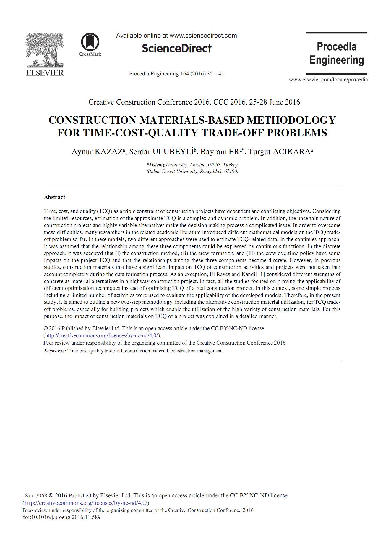 روش ساخت مبتنی بر مواد برای مسائل زمان- هزینه- کیفیت تجارت