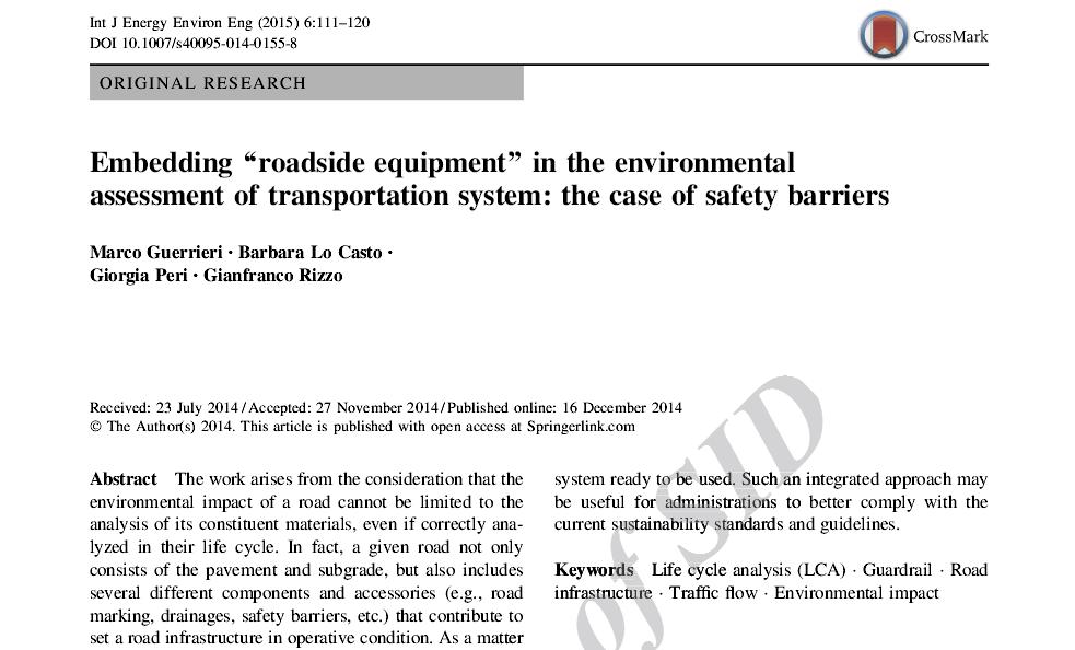 قرار دادن تجهیزات کنار جاده ای در ارزیابی محیطی سیستم های حمل و نقل مطالعه موانع ایمنی