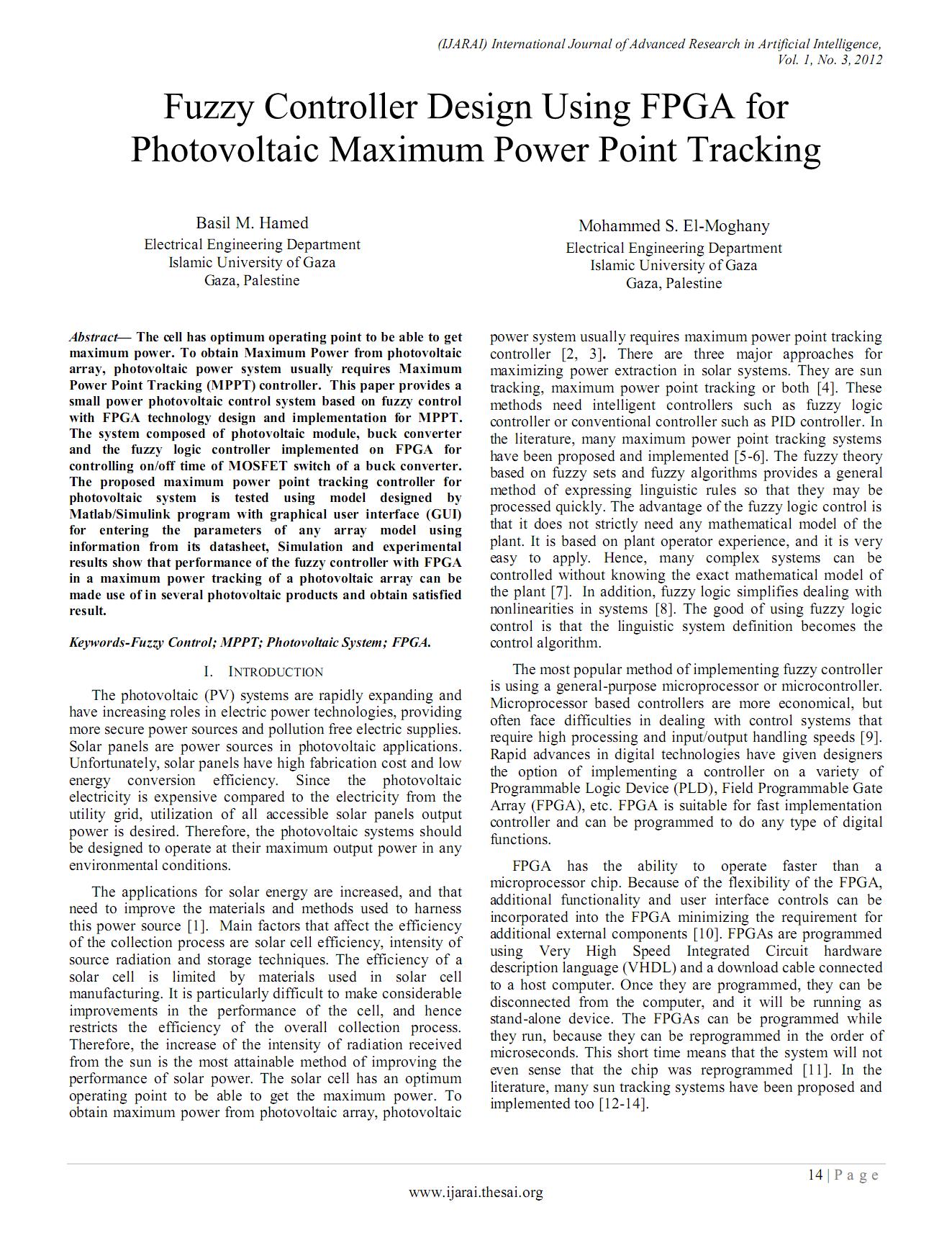 طراحی کنترل کننده ی فازی با استفاده از FPGA برای ردگیری نقطه ماکزیمم توان سلول های خورشیدی