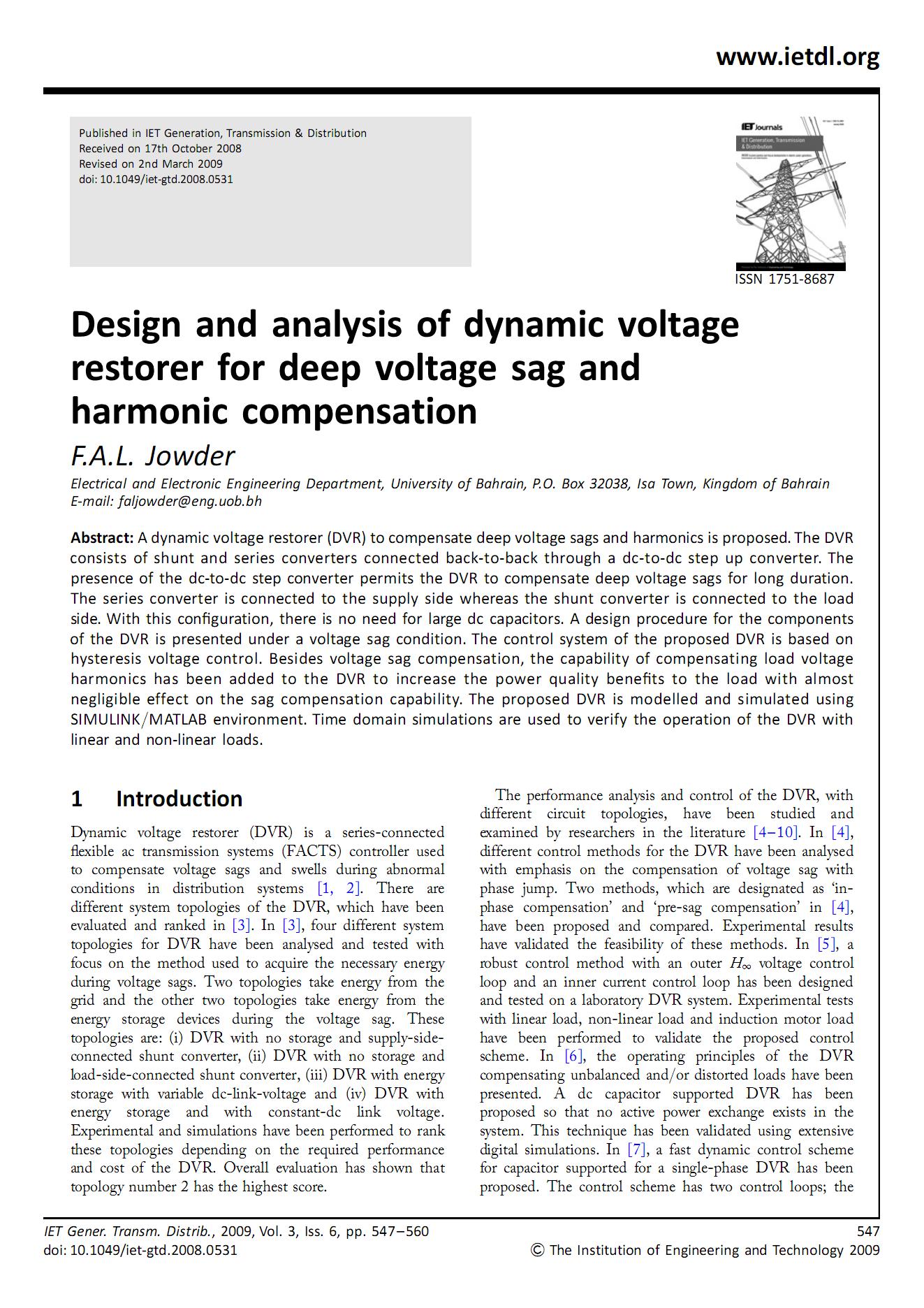 طراحی و شبیهسازی بازیاب دینامیکی ولتاژ به منظور اصلاح فرورفتگی ولتاژ (Voltage Sag)